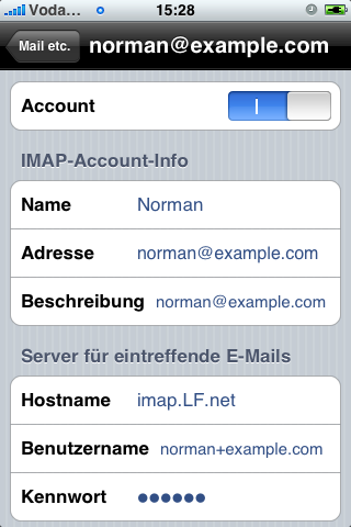 Mailaccount Settings, obere Haelfte